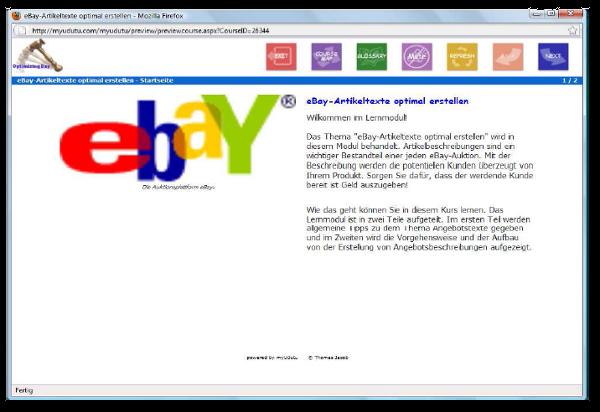 Bildschirmausschnitt des Beispiellerninhalts